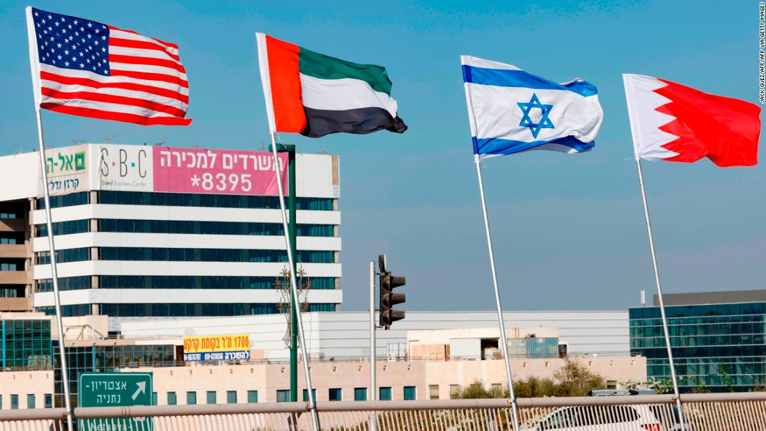 200915112809 the flags of l r the us the united arab emirates israel and bahrain are flown along a road in the resort city of netanya in central israel on september 13 2020 super 169 F7JT7J